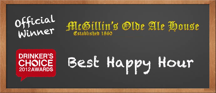 Drinker's Choice 2012 Winner, Best Happy Hour: McGillin's