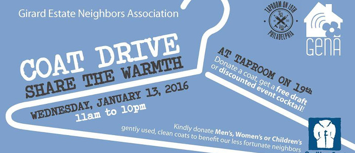 Donate a Coat, Get a Beer at Taproom on 19th, Jan. 13