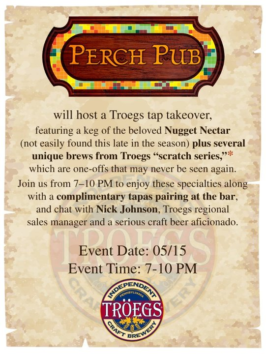 Troegs Tap Takeover at Perch Pub, May 15